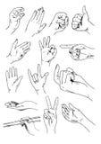 Sistema del vector de manos y de gestos Foto de archivo