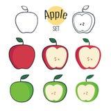 Sistema del vector de manzanas Vector Apple entero y mitad de Apple Ejemplo del vector de las manzanas Imagen de archivo libre de regalías
