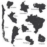 Sistema del vector de mapas suramericanos con las fronteras de la región Fotografía de archivo libre de regalías
