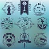 Sistema del vector de mariscos de los logotipos Calamar, atún, ostras, cangrejo, langosta Foto de archivo