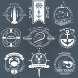 Sistema del vector de mariscos de los logotipos Calamar, atún, ostras, cangrejo, langosta Fotografía de archivo