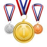 Sistema del vector de medallas Foto de archivo libre de regalías