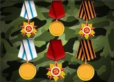 Sistema del vector de medallas militares Foto de archivo libre de regalías