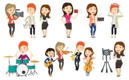 Sistema del vector de medios caracteres de la gente Imagenes de archivo