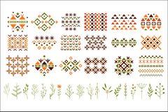 Sistema del vector de modelos étnicos coloridos, de hierbas decorativas y de flores Pequeñas ramitas de plantas Elementos para la Imagenes de archivo