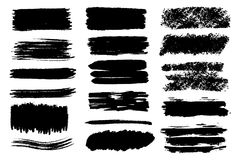 Sistema del vector de movimientos y de manchas dibujados mano del cepillo Una fondos dibujados del color mano artística monocromá libre illustration