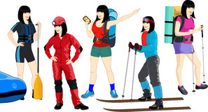 Sistema del vector de muchachas del viaje stock de ilustración