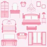 Sistema del vector de muebles en dormitorio Foto de archivo libre de regalías