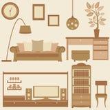 Sistema del vector de muebles en sala de estar Imágenes de archivo libres de regalías
