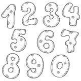 Sistema del vector de números Las figuras en el fondo blanco Fotografía de archivo