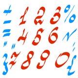 Sistema del vector de números y de símbolos matemáticos Foto de archivo libre de regalías