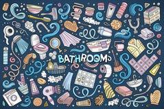 Sistema del vector de objetos del cuarto de baño Foto de archivo libre de regalías