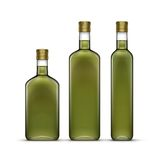 Sistema del vector de Olive Oil Glass Bottles Isolated Foto de archivo