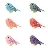 Sistema del vector de pájaros ornamentales coloridos Imagen de archivo libre de regalías