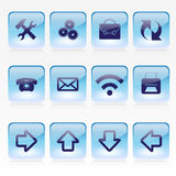 Sistema del vector de Pale Glass Square Buttons azul Imagen de archivo libre de regalías