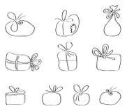 Sistema del vector de paquetes del regalo Foto de archivo libre de regalías