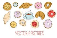 Sistema del vector de pasteles Imágenes de archivo libres de regalías