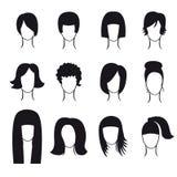 Sistema del vector de pelo que diseña iconos Imagen de archivo libre de regalías