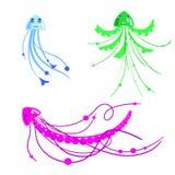 Sistema del vector de pescados de jalea de la historieta para los niños en estilo primitivo, aislados Foto de archivo libre de regalías