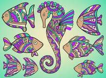 Sistema del vector de pescados y del seahorse Imágenes de archivo libres de regalías