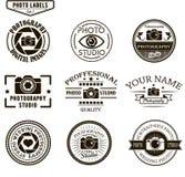 Sistema del vector de plantillas del logotipo de la fotografía foto Imagen de archivo