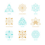 Sistema del vector de plantillas y de símbolos del diseño del logotipo stock de ilustración