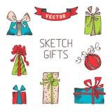 Sistema del vector de regalos dibujados mano Imagen de archivo