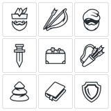 Sistema del vector de Robin Hood Icons Archer, arco y flecha, pobre hombre, espada, tesoro, estremecimiento, bosque, libro, escud Imagenes de archivo