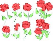 Sistema del vector de rosas Imagenes de archivo