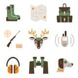 Sistema del vector de símbolos de la caza de los ciervos Caza, iconos del engranaje del tiroteo Sistema moderno del plano aislado Imagen de archivo libre de regalías