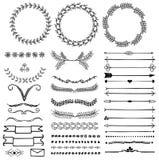 Sistema del vector de símbolos decorativos dibujados mano Foto de archivo libre de regalías