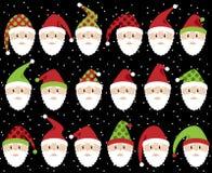 Sistema del vector de Santa Claus Faces o de cabezas linda Foto de archivo libre de regalías