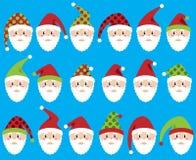 Sistema del vector de Santa Claus Faces o de cabezas linda Imagenes de archivo