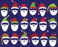 Sistema del vector de Santa Claus Faces o de cabezas linda Fotos de archivo libres de regalías