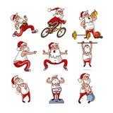 Sistema del vector de Santa Claus gorda en diversas acciones El viejo hombre barbudo dedica deportes Actividad física Personaje d stock de ilustración