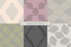 Sistema del vector de seis diseños de repetición en colores neutrales de moda Foto de archivo libre de regalías