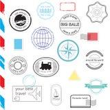Sistema del vector de sellos y de insignias Pasaporte, posts Ilustración del Vector