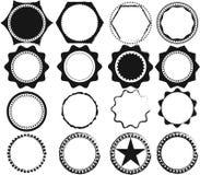 Sistema del vector de sellos y de insignias retros negros Imagen de archivo