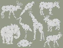 Sistema del vector de siluetas del animal de la papiroflexia Fotografía de archivo libre de regalías