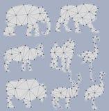Sistema del vector de siluetas del animal de la papiroflexia ilustración del vector