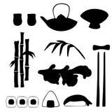 Sistema del vector de siluetas japonesas tradicionales de la comida libre illustration