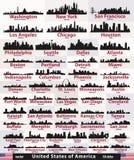 Sistema del vector de siluetas de los horizontes de la ciudad del extracto de Estados Unidos Fotografía de archivo libre de regalías