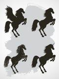 Sistema del vector de siluetas que alzan el caballo, Pegaso y unicornio Foto de archivo