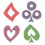 Sistema del vector de símbolos del naipe Dé los iconos negros y rojo alineados decorativos exhaustos aislados en los fondos Foto de archivo libre de regalías