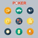Sistema del vector de sombra larga de los iconos del casino Fotografía de archivo
