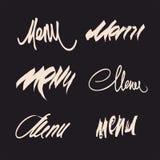 Sistema del vector de títulos caligráficos dibujados mano del menú Imagenes de archivo