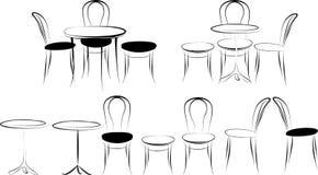 Sistema del vector de tablas y de sillas en un fondo blanco Imagenes de archivo