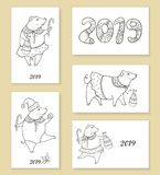 Sistema del vector de tarjeta y de carteles de felicitación con el cerdo negro divertido del esquema aislado Símbolo del Año Nuev Imagen de archivo libre de regalías