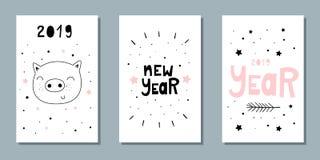 Sistema del vector de tarjetas del Año Nuevo Cerdo dulce, poniendo letras Ilustración del Vector
