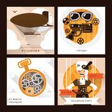 Sistema del vector de tarjetas del cuadrado del steampunk con los accesorios punkyes del vapor como gafas, dirigible y relojes y  ilustración del vector